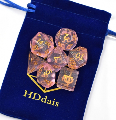 Pink Shimmer  Dice for DND with free bag