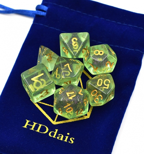 Green Shimmer Dice for DND with free bag