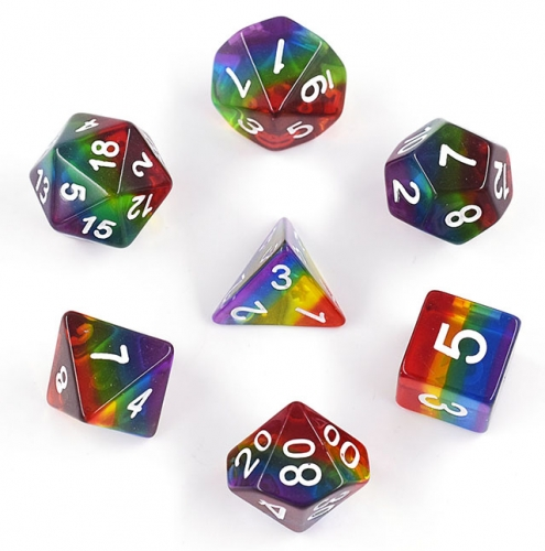 Crystal Rainbow Dice Set 7pc for Role Playing Game