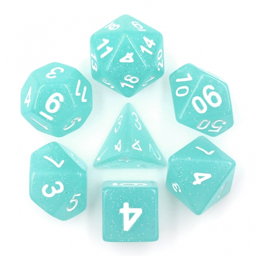 Lime Blue Translucent Glitter Dice for Dungeons and Dragons