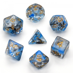 Blue and Black Swirl 7pc Dice Set for Table gaming