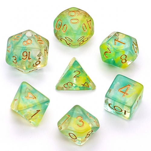 Green and Yellow Swirl 7pc Dice Set for Table gaming