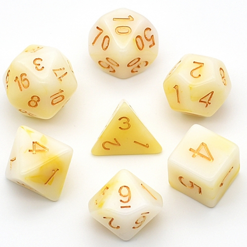 7-Die Polyhedral Dice Set White Jade Dice DND Dice for Dungeons and Dragons(D&D) RPG MTG Pathfinder Role Playing Game