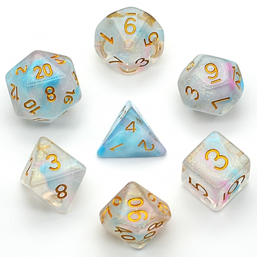 Polyhedral Dice Set Swrli Pink& Blue Shimmer Galaxy DND Dice for Dungeons and Dragons(D&D) RPG MTG Pathfinder Role Playing Game