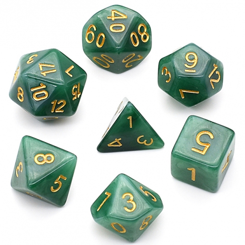 7-Die Dark Green Jade Dice Polyhedral Dice Set DND Dice for Dungeons and Dragons(D&D) RPG MTG Pathfinder Role Playing Game