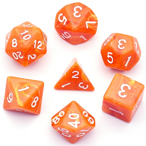 Orange Clouds Acrylic Dice Polyhedral Dice Set  DND Dice for Dungeons and Dragons MTG RPG Toptable Game