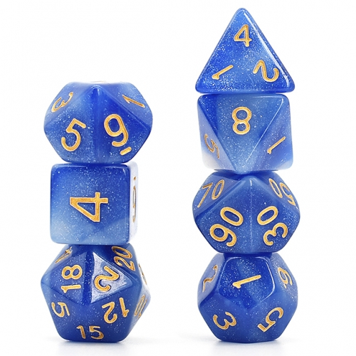 blue and white galaxy dice