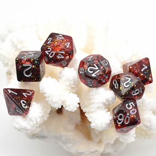 black and red shimmer dice